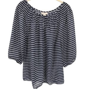 LOFT Striped Billow Sleeve Blouse Navy and White